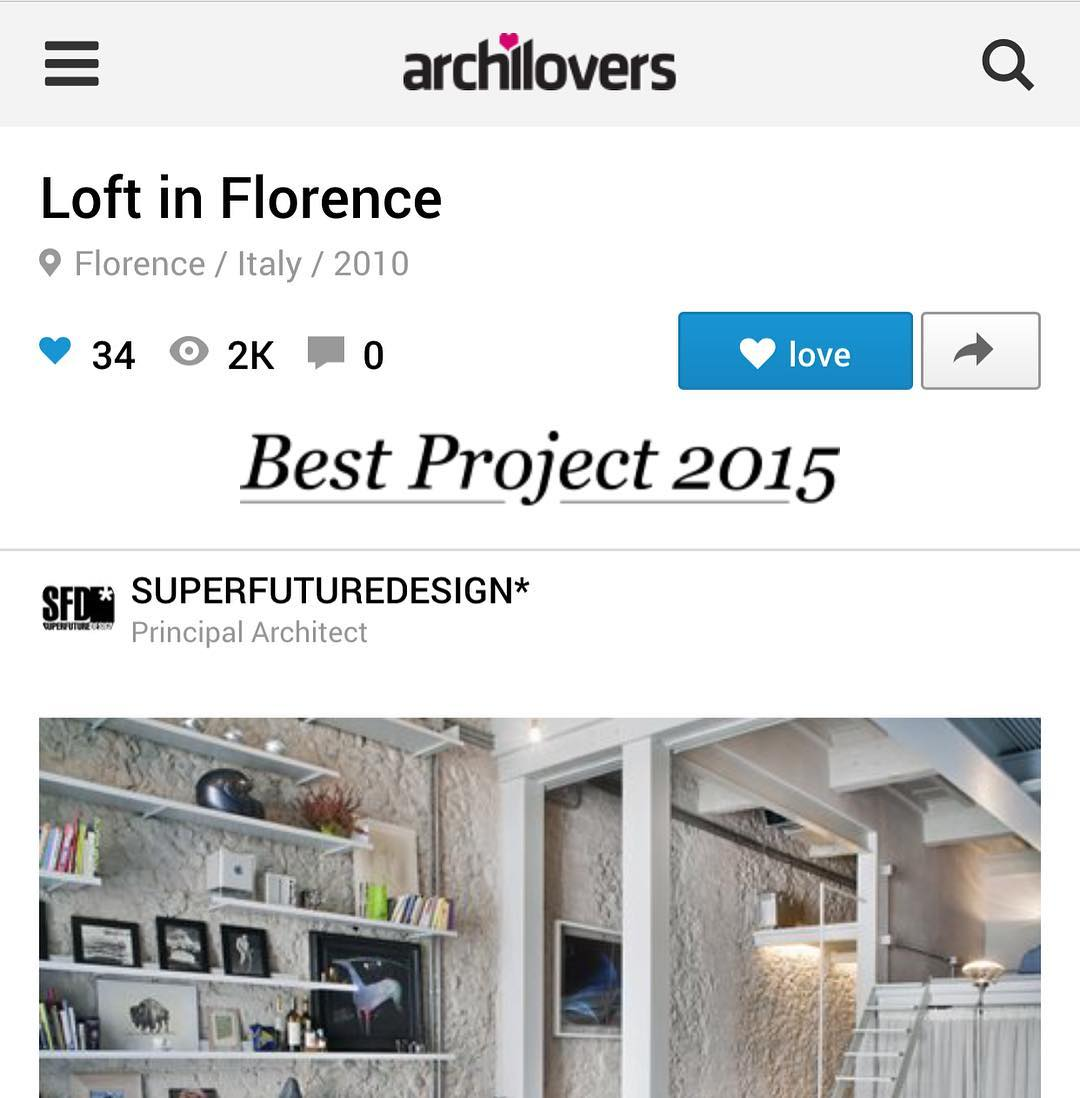 "Thank you @archilovers for having included our project in your ""best project 2015"" link in bio #loft #residentialproject #florence"