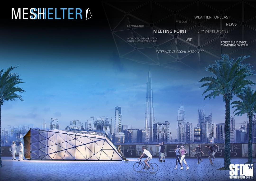 For the world design days 2016- design action - we would like to recall our urban majilis project, we presented early 2016...a multi functional community building that acts both as shelter, resting point, information tool for the city of dubai. #wdd2016 #designaction #modernmajilis #mydubai #majilis