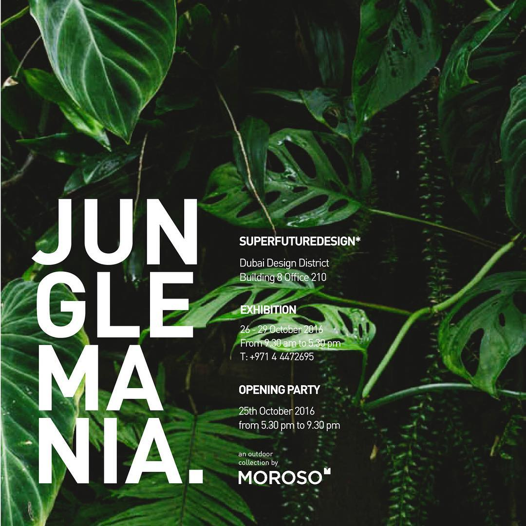 8 DAYS to go! JUNGLEMANIA - superfuturedesign* in collaboration with @morosofficial present M'Afrique outdoor collection. Come to visit us in our office in building 8 during the dubai design week! #junglemania #dubaidesignweek2016 #dxbdw2016 #iamd3 #outdoorfurniture #moroso