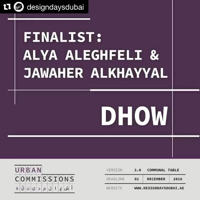 Finger crossed! #Repost @designdaysdubai with @repostapp ・・・ Congratulations to the 3 finalists of#UrbanCommissions 3.0.  @morosic @alya.aleghfeli @farukisarah  ______________________________  Urban Commissions is an initiative by #DesignDaysDubai and @d3dubai @DubaiCulture; an attempt to stimulate the creative community in a way that benefits the public realm.  ______________________________  The winning design will be unveiled at #DDD2017  ______________________________  #thisisd3 #dubaiculture #designdaysdubai