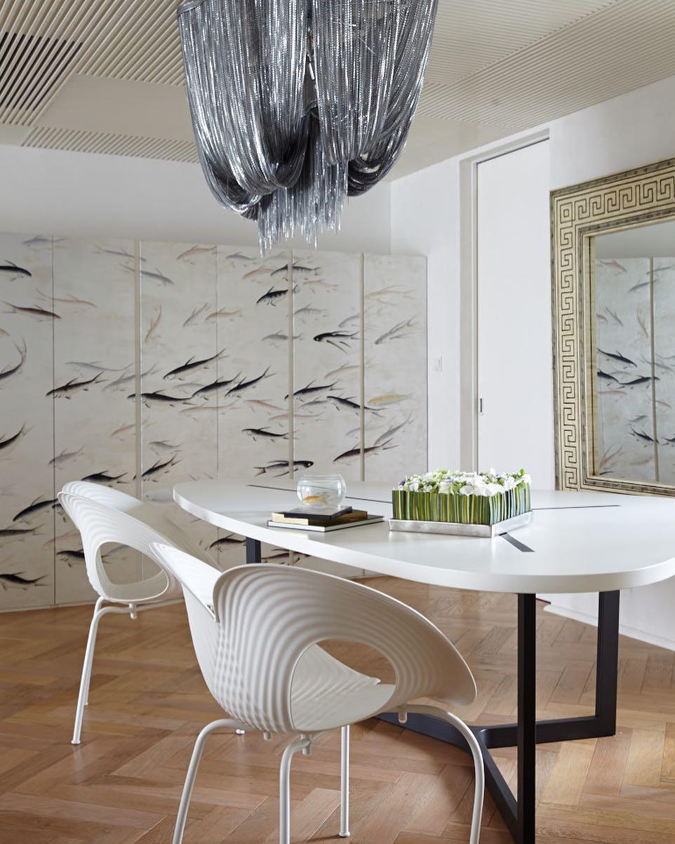 Flash back... #shanghai #penthouseproject #xintiandi @degournay #wallpaper #fish #silverwallpaper #spigatable @bebitalia