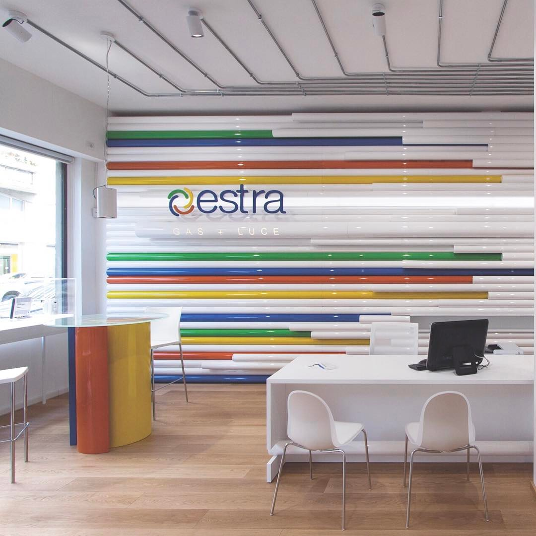 ESTRA offices by SUPERFUTUREDESIGN* . . . #superfuturedesign  #italy #italia #architexture #city #id #interiordesign #interior  #design #minimal  #architecturelovers #lines #stairs #archilovers  #style #archidaily #composition  #perspective #inspiration #archilovers #creativity #trend #houseidea #interiorstyle