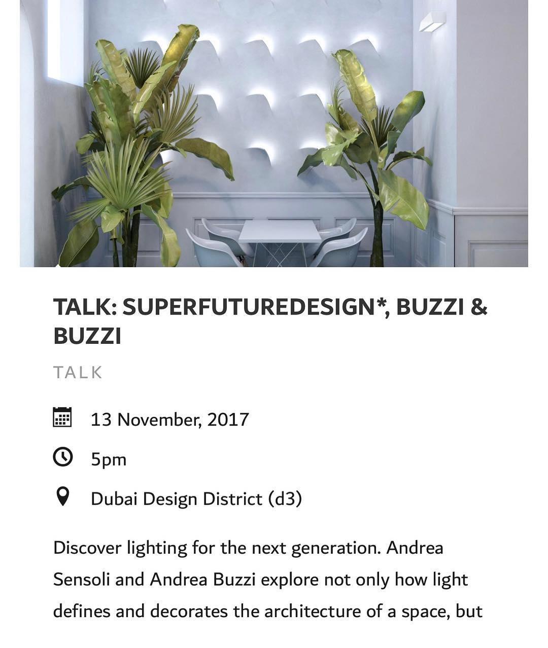 Today is the day!!! ✨ At 5 pm Andrea Sensoli and Andrea Buzzi will talk about discovering lighting for the next generation. And join us from 6pm for the aperitivo at BETTair-HOUSE. @buzziebuzzi @dubaidesignweek . . . .  #dxbdw2017 #iamd3 #talk #installation #dubaidesigndays2017 #pavillions #lightingdesign #ecosustainable #thisisd3 #environmentallyfriendly #mydubai #italiandesign #d3community